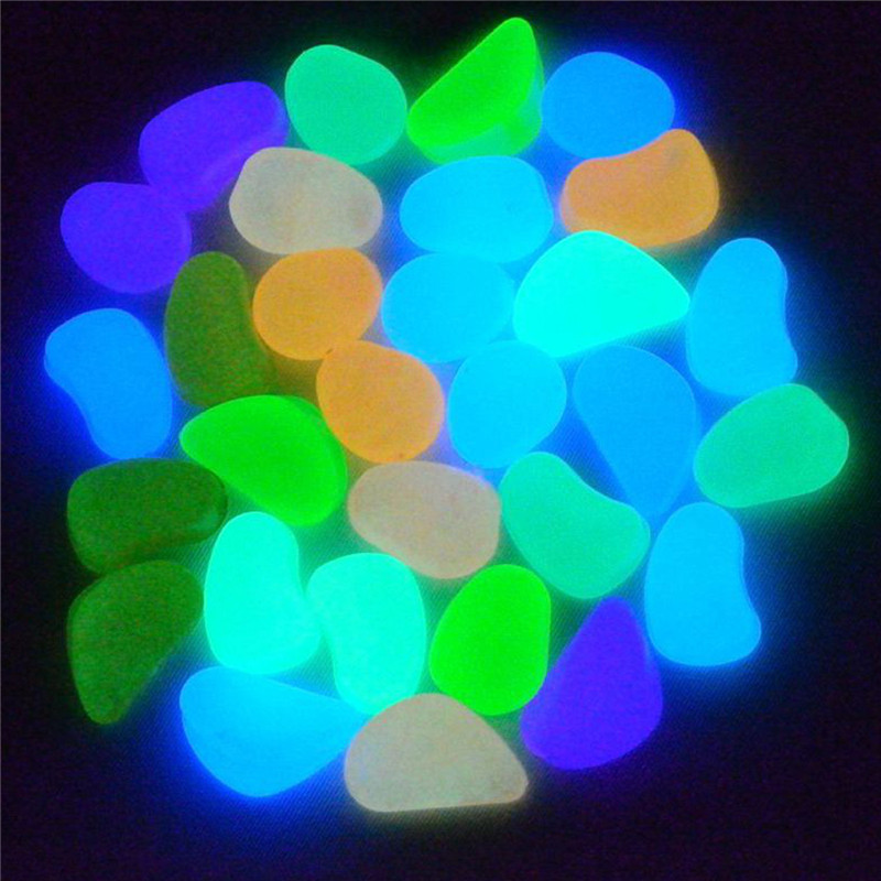 Lowest Price 10Pcs Photoluminescent Pigment Mixed Color Glow In The Dark Pebbles  Stones Home Garden Walkway Fish Tank Decoration