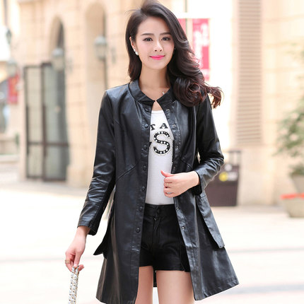 Large Size Ladies Leather Jackets Fall 2017 MS  New High Quality PU Jacket European Classic Brand Leather Coat