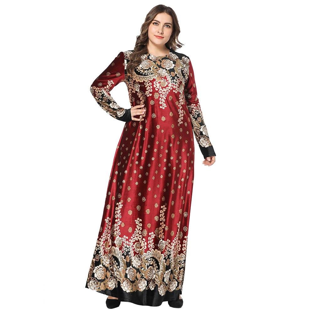 0c8e2bf4691ff 4XL plus size Muslim women long sleeves velvet embroidery Dubai Wine Dress  maxi abaya jalabiya islamic