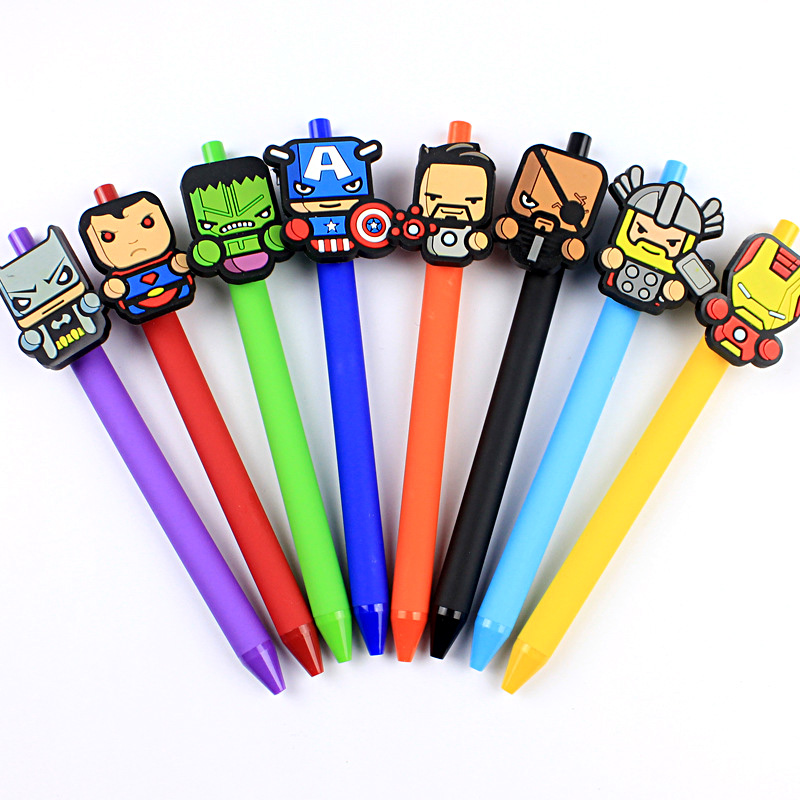 40 stks/partij Cartoon hero Gel Pen Kawaii 0.5mm Zwarte Pen Kid Gift Briefpapier Kantoor & Schoolbenodigdheden frosted pen-in Gelpennen van Kantoor & schoolbenodigdheden op  Groep 1