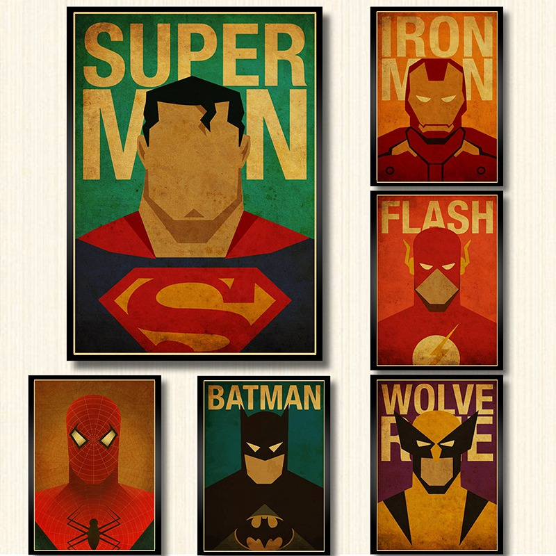 Cartoon Marvel Comics Avengers Super Heroes Movie superman batman the flash Poster wall art painting children room decor
