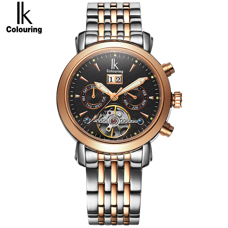 IK Colouring Sapphire Glass Automatic SelfWind Men Watch 10ATM Deep Waterproof Luminous Display Hollow Back Cover Business Style ik colouring brand mechanical hand wind clock nail scale hollow back cover luminous hardlex full steel business men s watch