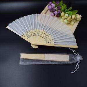 Image 2 - [Auviderin] 100 個白結婚式の手のファンでパーソナライズされた白ギフトボックス「ありがとうございましたタグ折り畳まファンギフトバッグ