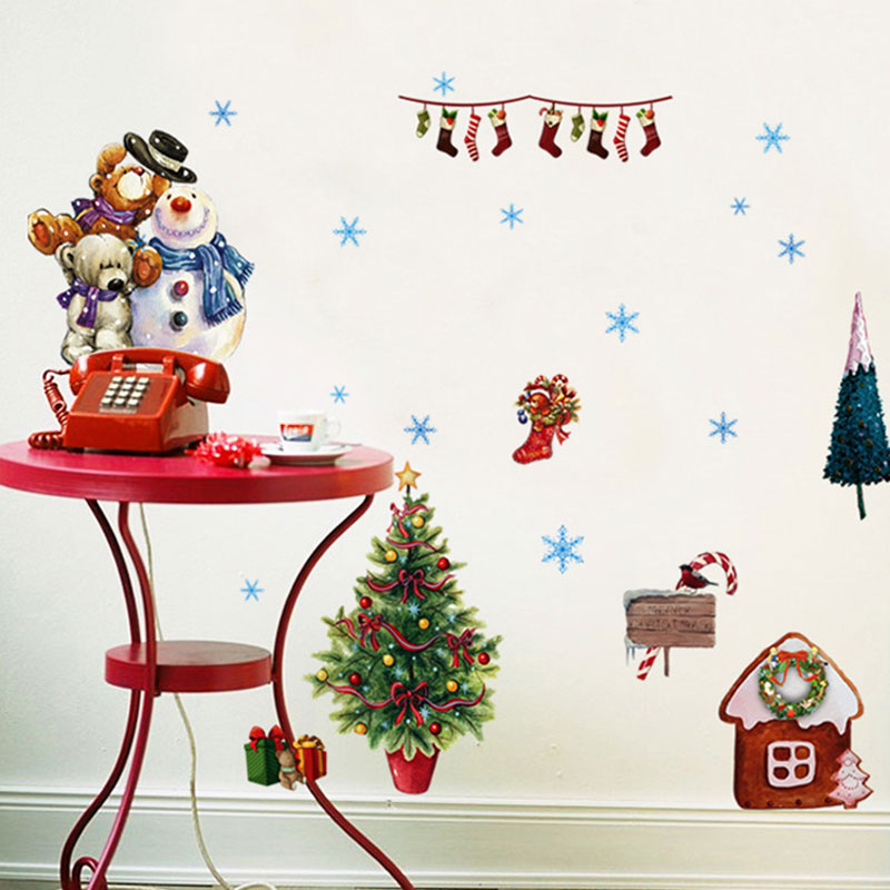 Christmas window stickers vinilos decorativos wall for Stickers vinilos decorativos