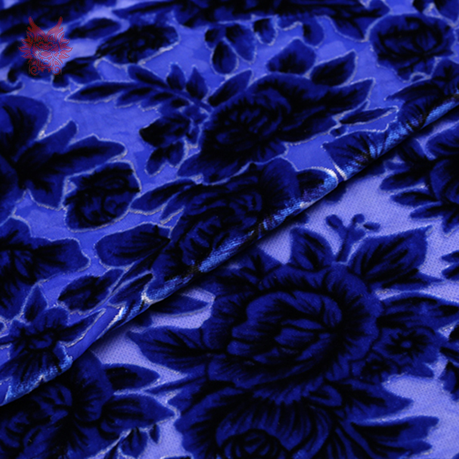 Blue floral burnout fabric for sewing rayon silk velvet fabric for dress 8mm flocking silk fabric cloth free shipping SP3748