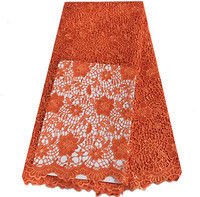JC64-1orange With Sequins High Quality African Cotton Cord Lace Free Shipping Embroidery Lace Material Wholesale
