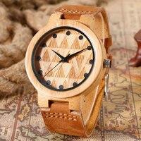 Creative Casual Bamboo Modern Bangle Novel Wrist Watch Analog Nature Wood Hot Trendy Genuine Leather Band