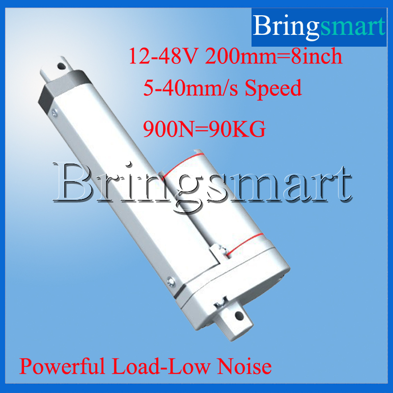 ФОТО Wholesale 200mm / 8 inch Linear Actuator 12-48v Tubular Motor with Stroke 900N Load Speed of 10mm/s