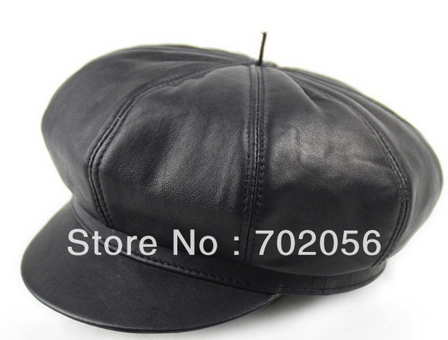 just arrival real sheepskin Leather Beanie Skull CapsHats casual HAT CAP 13pcs/lot #3103