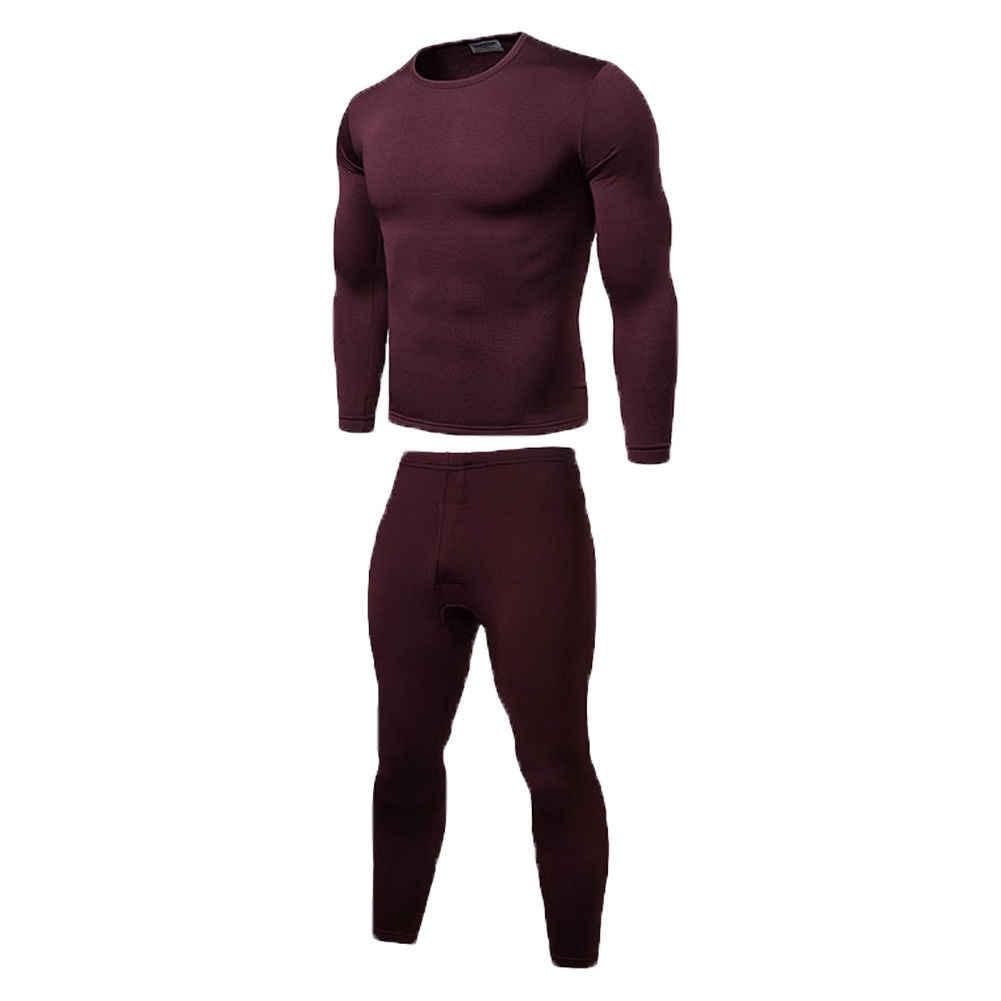 2019 Musim Dingin Hangat 2 Buah Pakaian Long John Pakaian Dalam Termal Atasan Bawahan Celana Plus Ukuran L-2XL