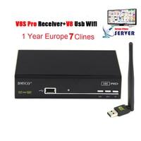 1 Año Europa 7 Clinales Servidor España Italia Árabe receptor V8 PRO DVB-S2 HD Digital 3G IPTV Receptor de Satélite TV con USB Wifi