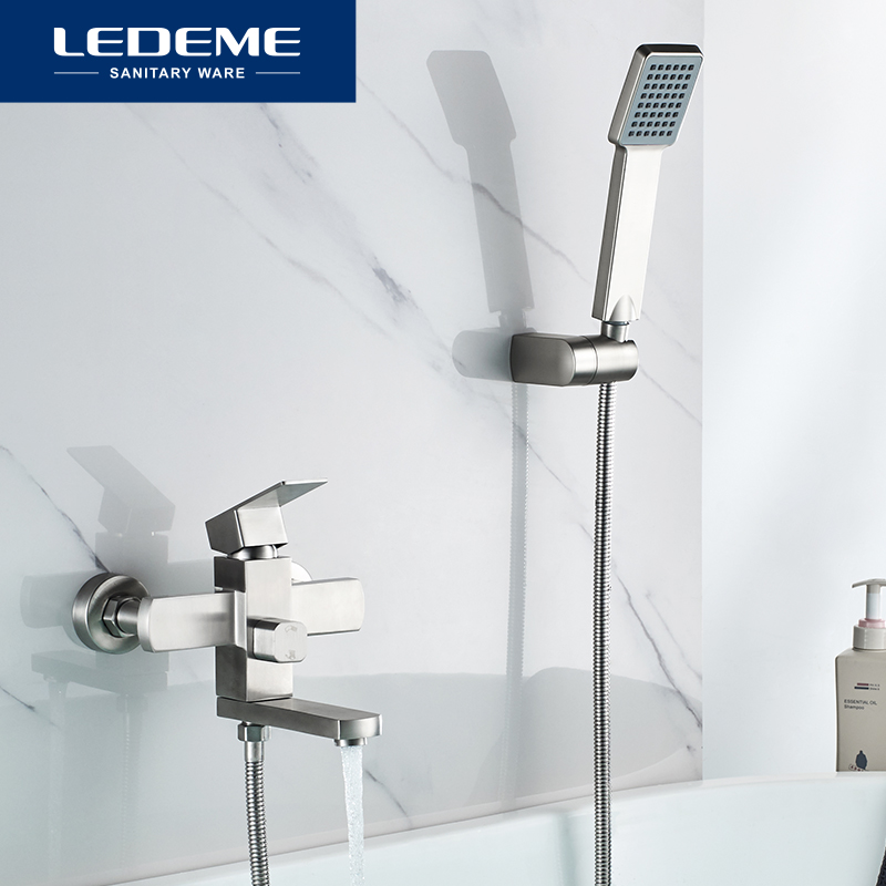 LEDEME Bathtub Faucets Wall Mounted Faucet Bathroom Shower Faucet Stainless Steel Bathtub Mixer Bath Mixer Faucet Taps L73233-in Bathtub Faucets from Home Improvement    1