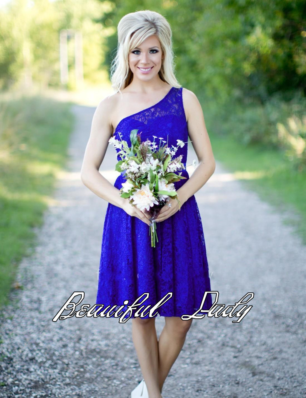 Online get cheap one shoulder royal blue bridesmaid dress fashionable royal blue lace bridesmaid dresses 2017 new one shoulder a line knee length short bridesmaid gowns fast shipping ombrellifo Image collections