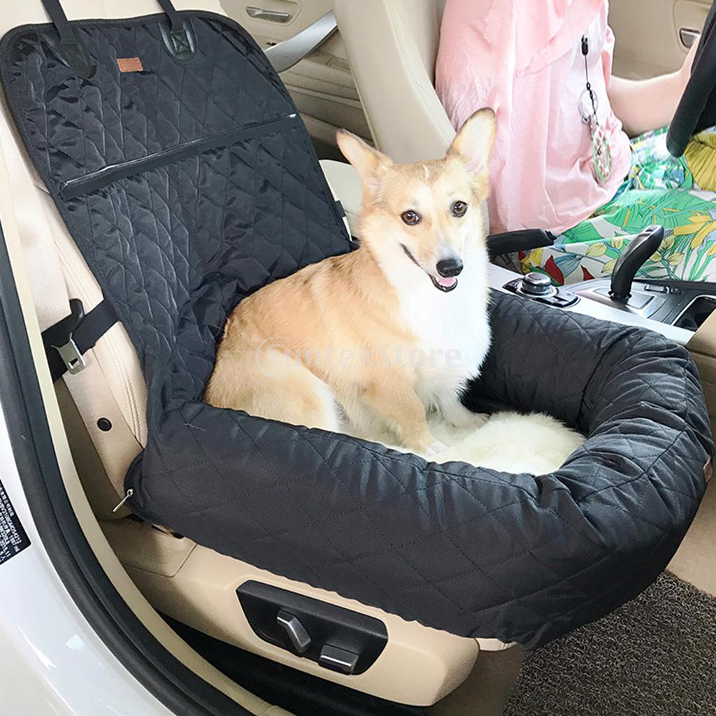 Deluxe Dog Car Bucket Seat Protector Functional Pet Booster Car Bed Lounge Portable Carr ...