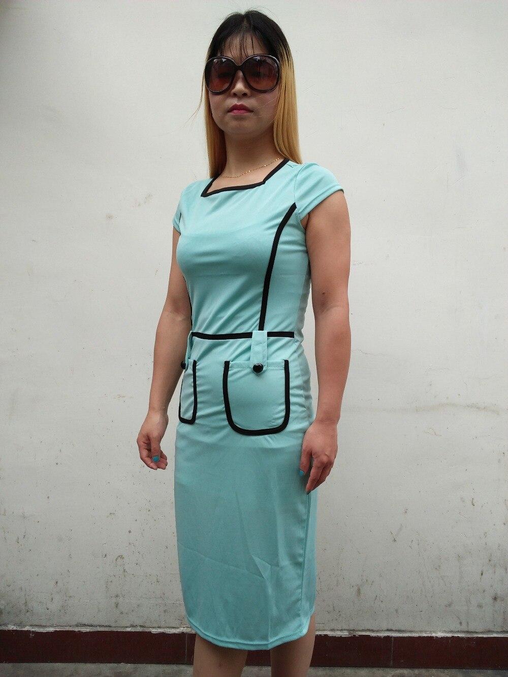 100% valódi fotó Vintage munka XXL női tunika ceruza ruha bájos - Női ruházat