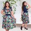 2017 nuevas mujeres de la marca summer dress vestidos 6xl mujer plus tamaño de la Correa de Impresión O Cuello Corto Manga de La Flor Vestidos de Fiesta Maxi
