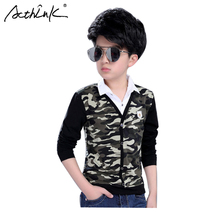 ActhInK New Teenage Boys Camo t-Shirt Shirt Collar Camouflage Long Sleeve Sping Cotton