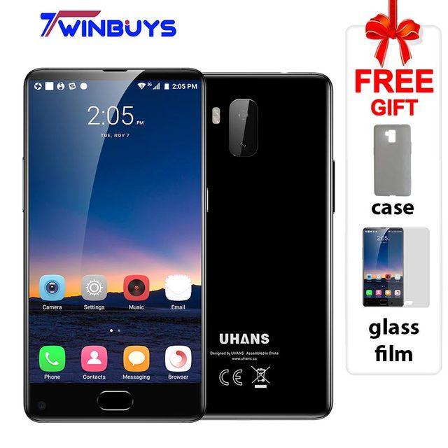 "UHANS MX 3G Smartphone 5.2"" HD bezel-less MTK6580 Quad Core Android 7.0 2GB+16GB 3000mAh 8MP+5MP Front fingerprint Mobile Phone"