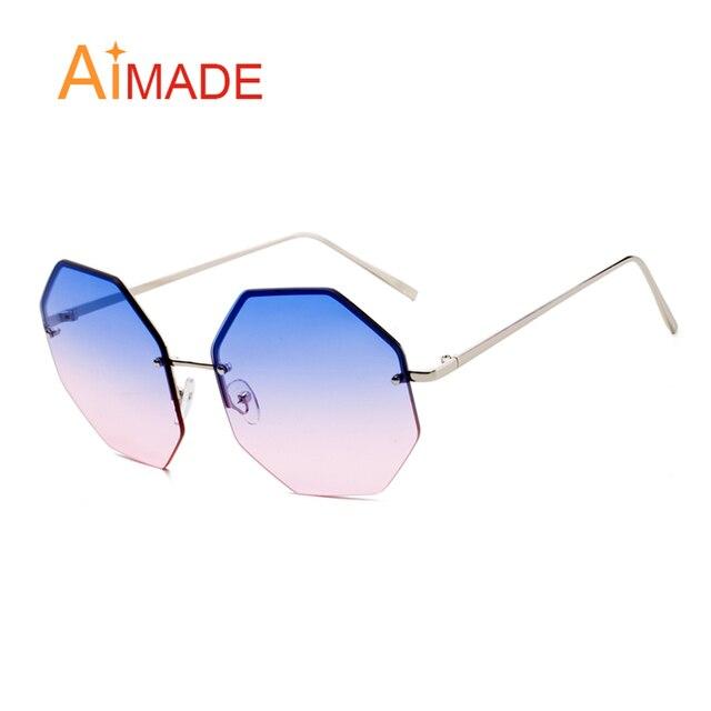 e8187a5268 Aimade nuevas señoras diseño sin rebordes Oversized gafas de sol mujer  hombre moda gradiente grandes Octagon