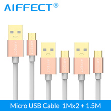 цена на AIFFECT 3 Pieces Micro USB Cable High Speed Micro-USB Cable Micro B to USB Data Charging Sync Cable Cord Line 3.3Ft X2 and 5FT