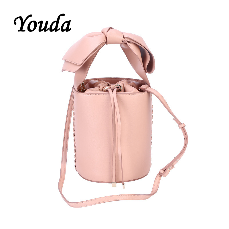 Youda Solid Color PU Material Bow Decorative Handbag Large Capacity Shoulder Bucket Bags Casual Messenger Bag Shopping HandbagsYouda Solid Color PU Material Bow Decorative Handbag Large Capacity Shoulder Bucket Bags Casual Messenger Bag Shopping Handbags