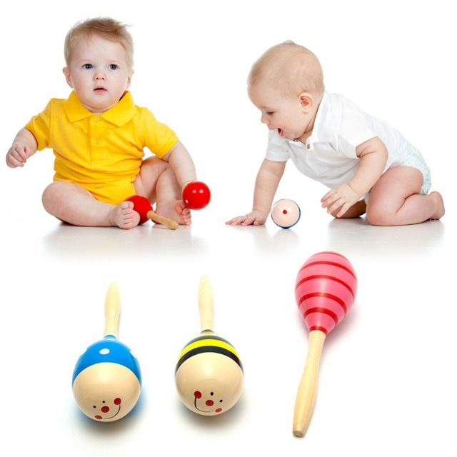1 Pc Baby Music Toys Baby Toys Wooden Kid Child Sand Hammer Early Education Tool Rattle Musical Instrument Percussion Toy Gifts 2