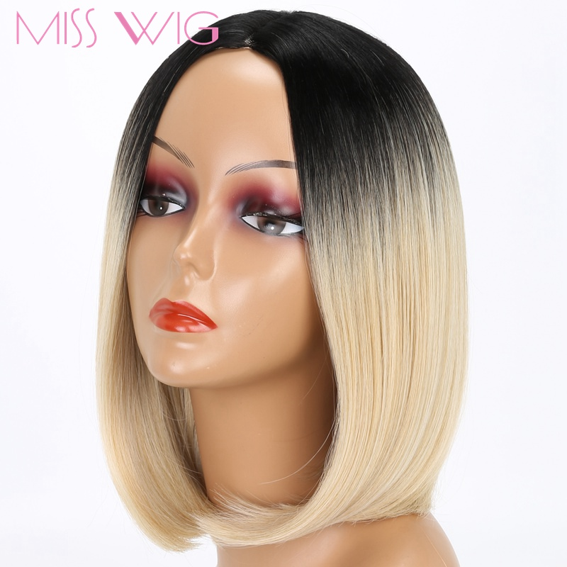 Miss Wig Ombre Blue Blonde Grey Hair Short Wigs For Black Women