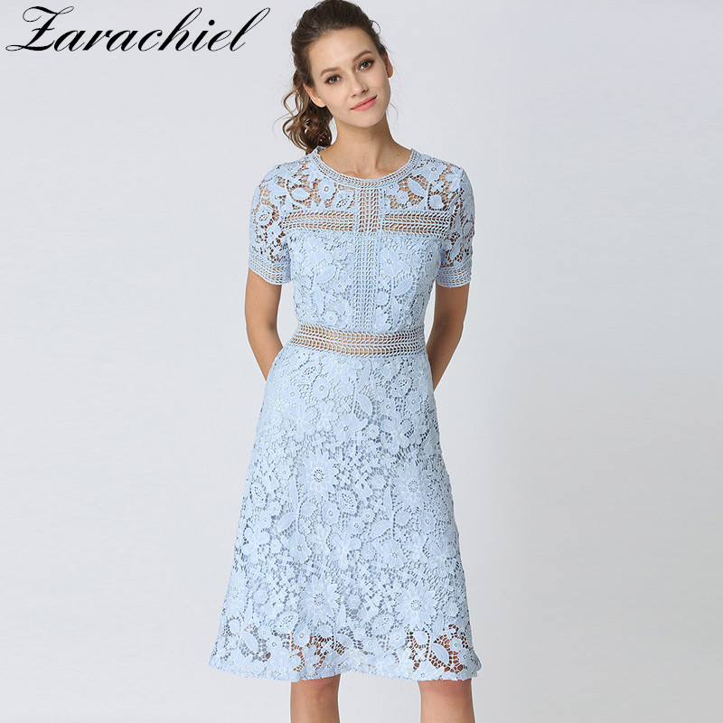 0232c9c44b Detail Feedback Questions about European 2018 Summer Elegant Sky Blue Water  Soluble Lace Dress Women Casual Short Sleeve Flower Hollow Out Knee Fit  Flare ...