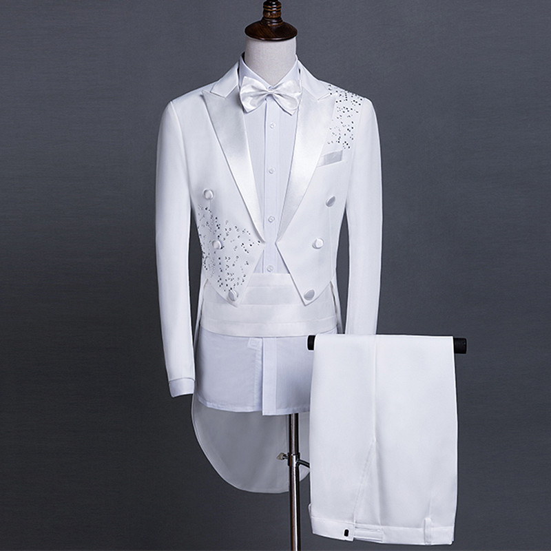 Sparkly Rhinestones White Men's Suit Formal Magician Swallowtail Performance Costumes Host Stage Outfit Singer Chorus Costumes