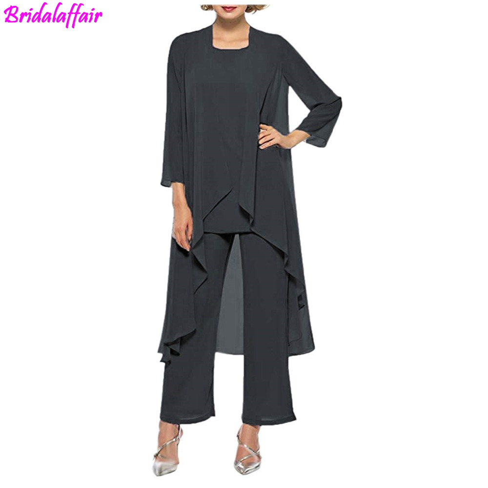 Women's Dress Bride Chiffon Pant Suits For Mother Of The Bride 3 Pieces Long Jacket Mother Of The Groom Godmother Dresses