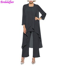 Womens Dress Bride Chiffon Pant Suits For Mother Of the 3 Pieces Long Jacket The Groom godmother Dresses