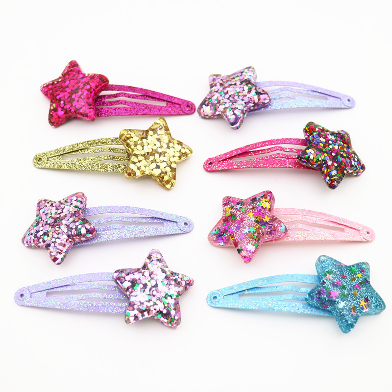 5cm Arrival Of Summer Children Of Color Bright Metal Star Hooks Baby Hair Clips Girls Hair Accessories Heart Star Hair Clip
