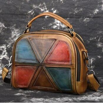 Brands 100% Genuine Leather Women Crossbody Tote Handbag Top Quality Wipe color Female Cowhide trend  Messenger Shoulder Bags