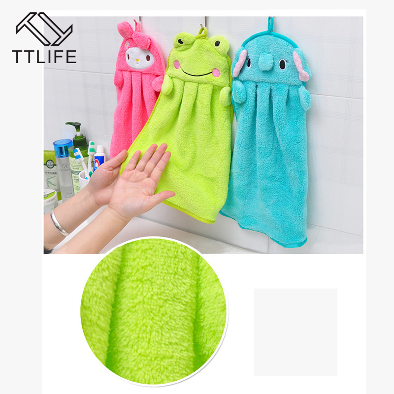 TTLIFE Hand Water Absorbent Towel Coral Velvet Cartoon Kitchen Hang Washcloth Nursery Soft Household Eco friendly Candy Colors-in Hand Towels from Home & Garden