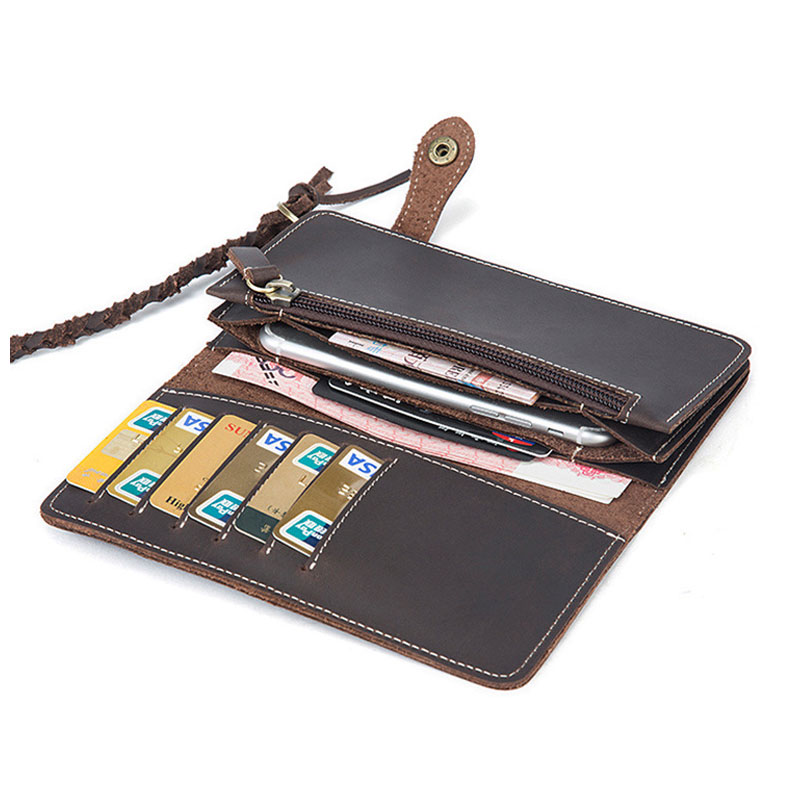 Crazy Horse Genuine Leather Men Wallets Credit Business Card Holders Zipper Cowhide Leather Wallet Purse with Hanging Chain onlvan mens wallet crazy horse genuine leather cowhide cover coin purse man vintage male credit id multifunctional wallets