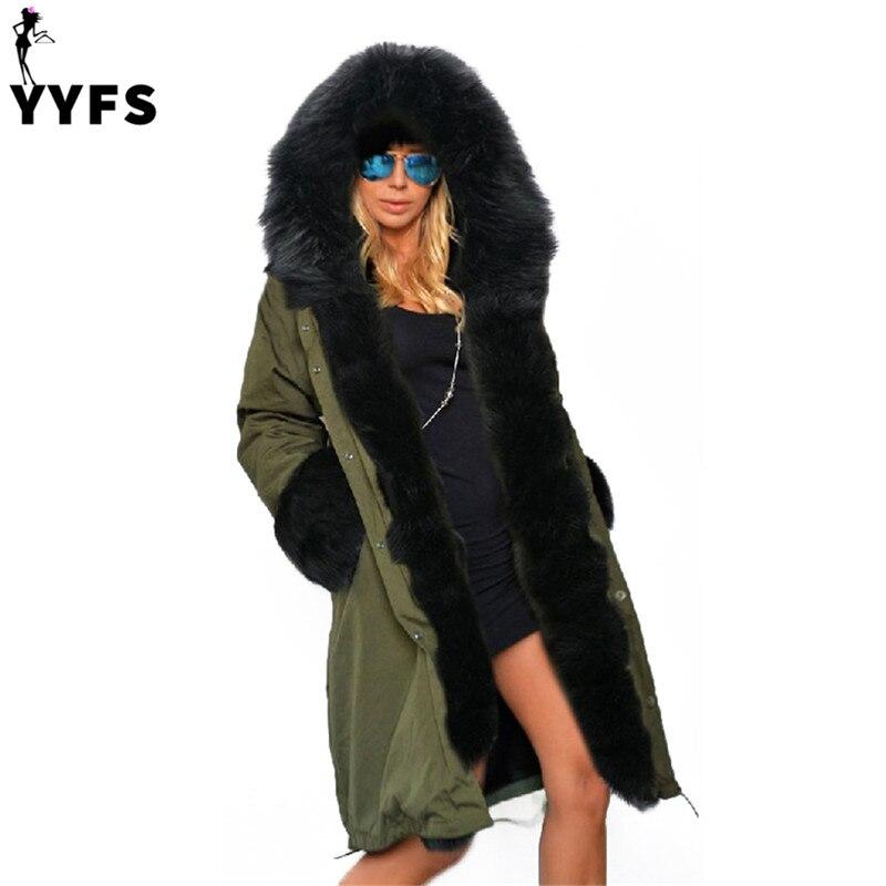 Women Coats Warm Winter Jackets Fur Collar Long Parkas Hoodies Casual Outwear