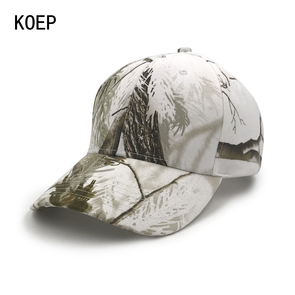KOEP Forest Bionic Real Tree Camouflage Baseball Cap Women's Men's Snapback Snow White Cap Summer Fall Hats For Men Army Cap
