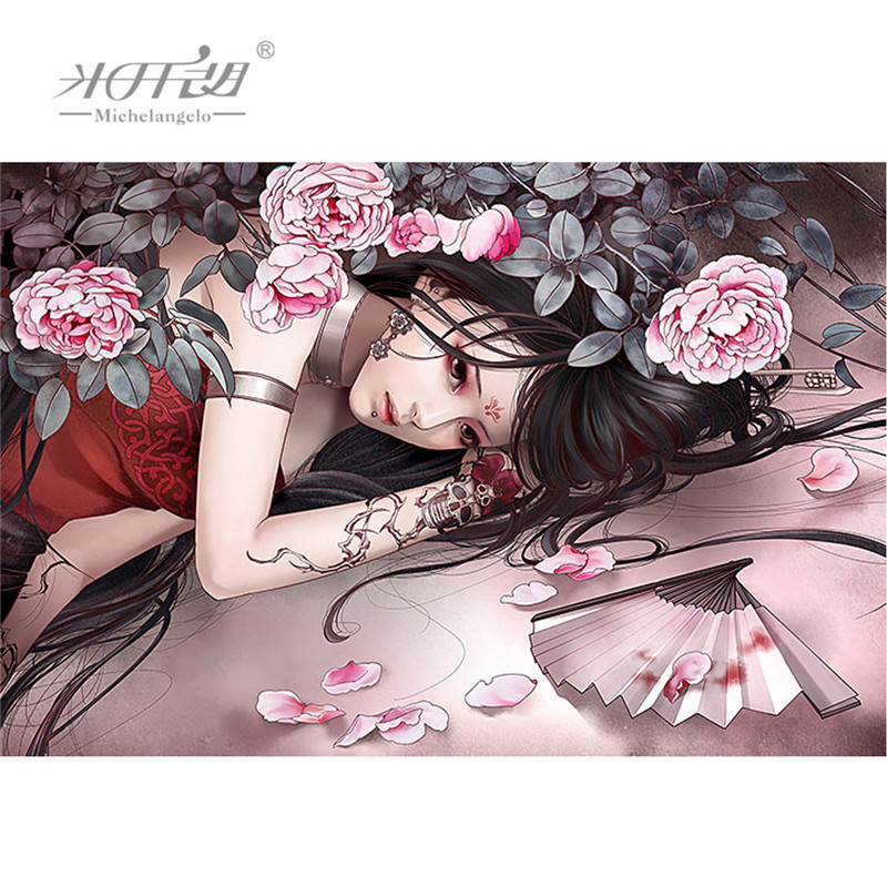 Michelangelo Wooden Jigsaw Puzzles 500 1000 Pieces Tattoo Girl Cartoon Painting Art Kids Educational Toys Gift DIY Collectibles