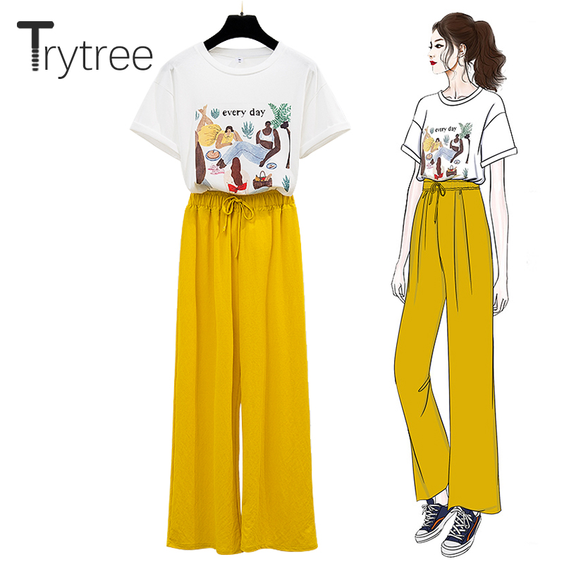 Trytree Summer Women Two Piece Set Casual Cotton O-Neck Cartoon Print Tops + Pants Elastic Waist 3 Colours Suit Set 2 Piece Set