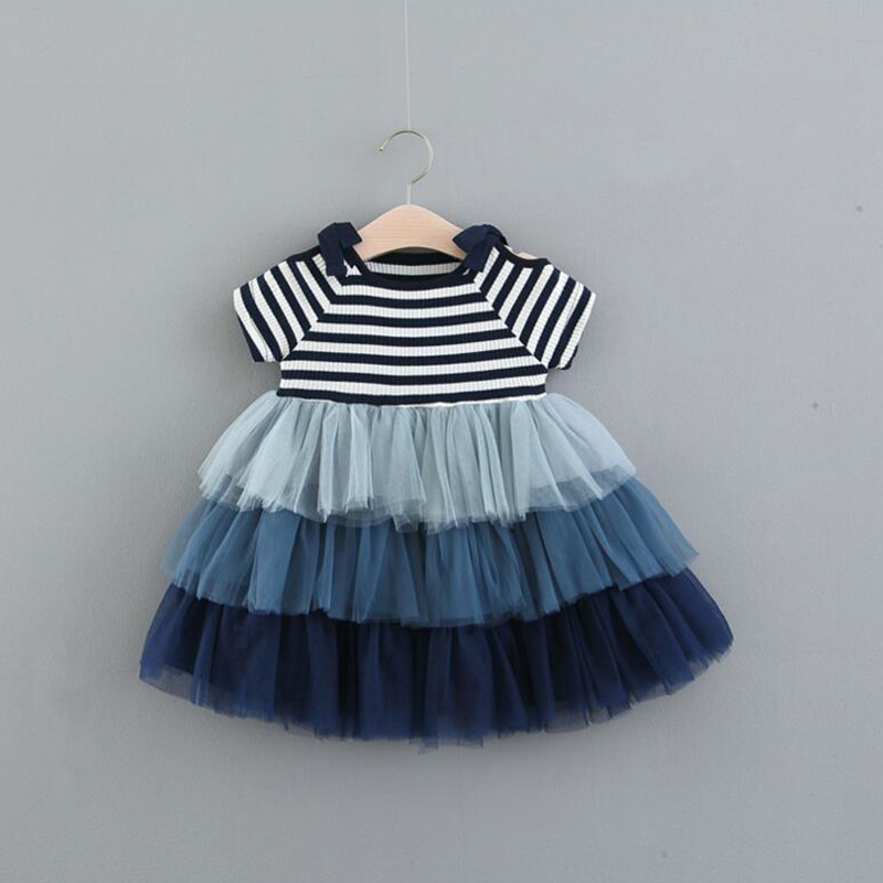 Baby Girls Princess Short Sleeve Cake Dress Toddler Striped Designed Casual Clothing Sweet Children Colorful Outfits For Infant-in Dresses from ...