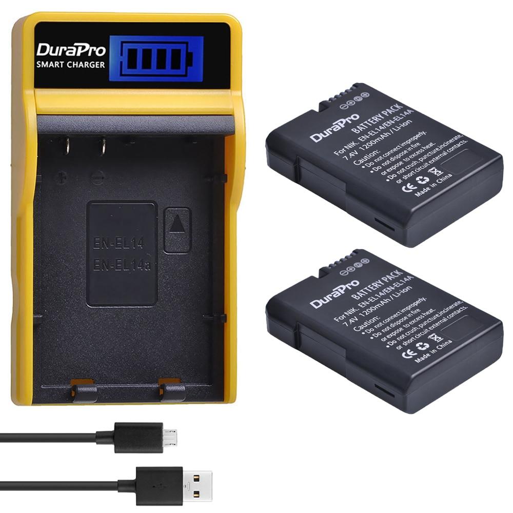1200mAh EN-EL14 EN EL14a Battery + LCD USB Charger For Nikon D3100 D3200 D5100 D5200 DF P7000 P7100 P7200 P7700 P7800 Camera