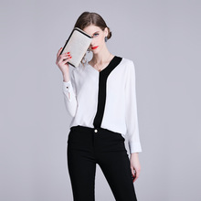 Europe and the United States Spring New Female V-neck Long-sleeved Black White Stitching White-collar Ladies Shirt