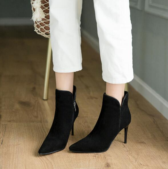 Taille En Marque De 2018 Zapatos Démissionner Bout Piste As Picture Femmes Pointu Souple Luxe Talons Bottes Picture Daim Hauts Bottines as Grande Mujer xPSUwqx