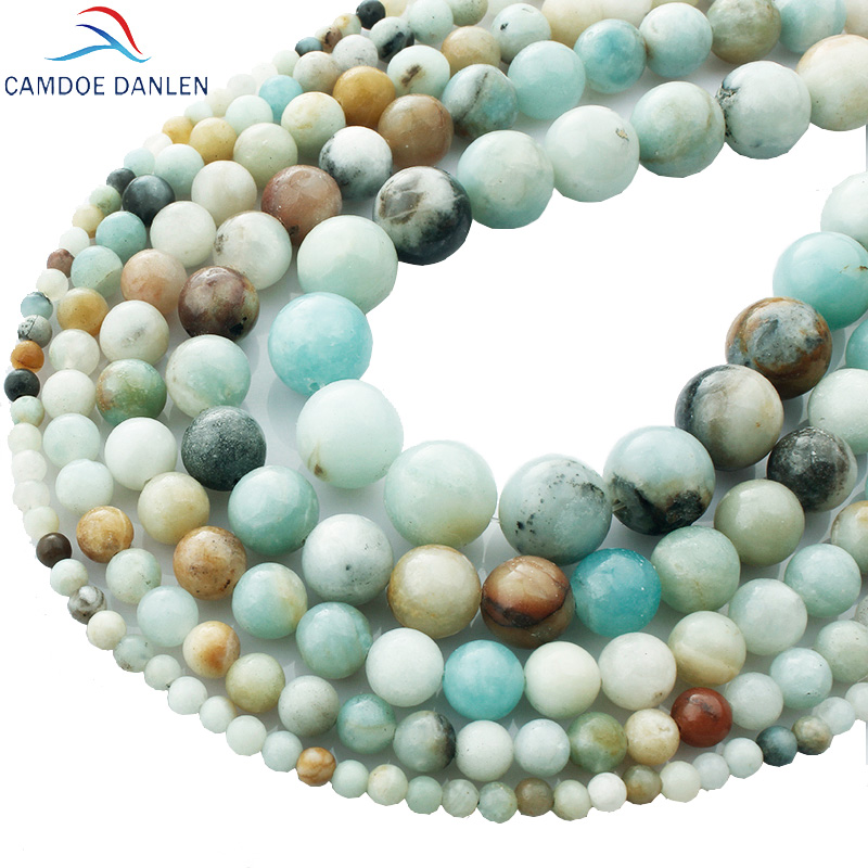 CAMDOE DANLEN Natural Stone Amazonite Mixed Color Round Beads Shape 4/6/8/10 / 12mm Diy Gelang Kalung Wanita Untuk Perhiasan Membuat