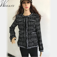 Wmwmnu 2018 Tweed jacket coat spring/autumn women's woolen cashmere coat long sleeve slim elegant runway plus size 4XL jacket