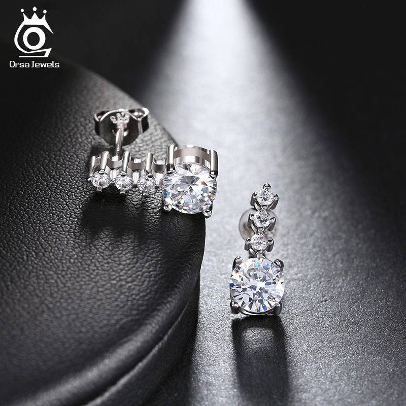 ORSA JEWELS Europe Style Earring White Zircon Earring Studs on 3 Layer High Quality Polished Women Earrings OE65