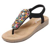 Hot Fashion SIKETU Summer Women Beach Flip Flops Students Bohemia Beaded Flat Sandals Rhinestone Flats US4