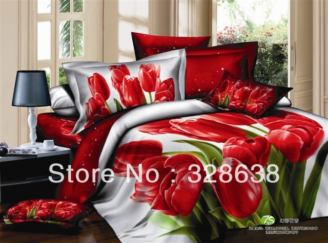 Wedding Set 3D Bedding Big Red Flower Oil Print 4PCS Comforter Set