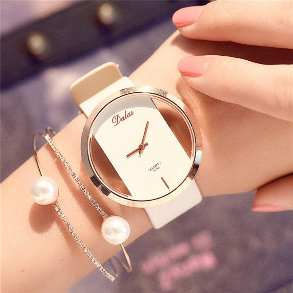 Hot Fashion Women Watch Leather Skeleton Strap Watch Women Dress Watch Casual Quartz Watch Reloj Mujer Wristwatch Girl