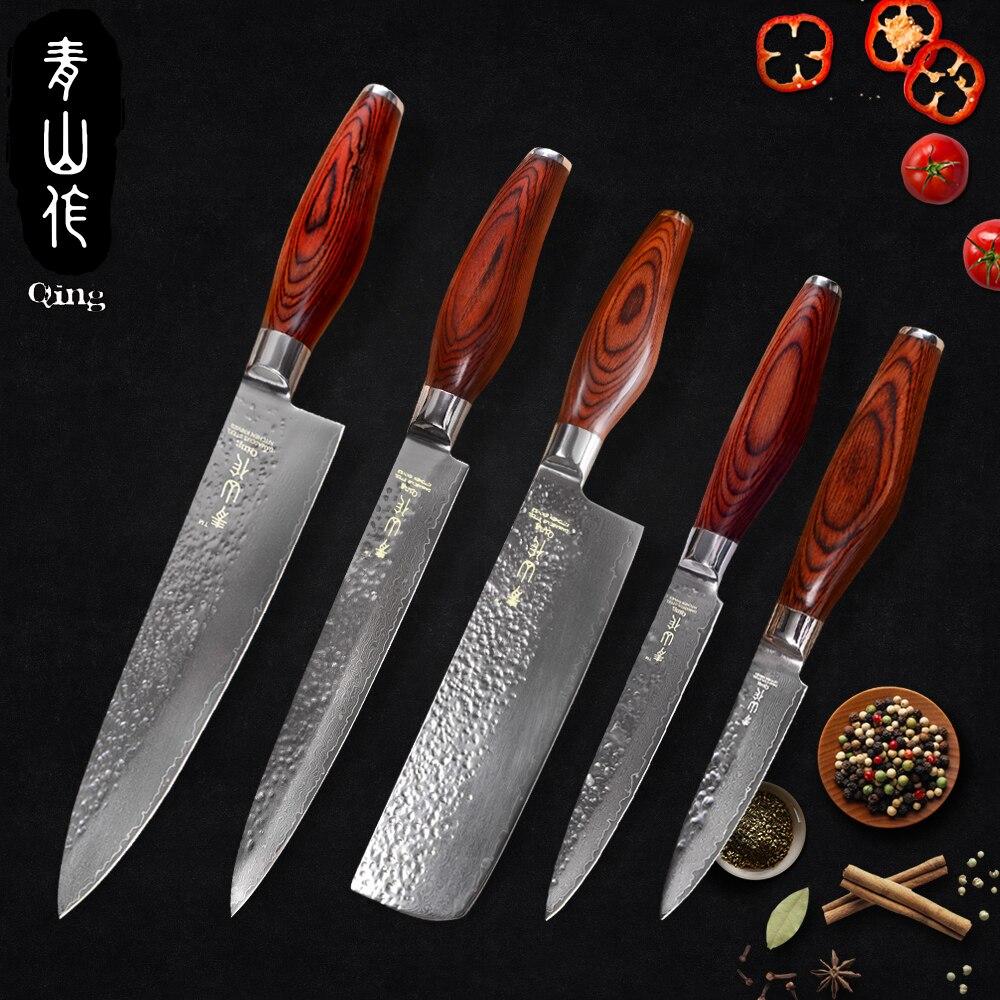 """Qing 주방 나이프 세트 3.5 """"과일 5"""" 유틸리티 7 """"도마 8"""" 슬라이스 8 """"요리사 vg10 다마스커스 나이프 컬러 나무 손잡이 요리 도구-에서칼 세트부터 홈 & 가든 의  그룹 1"""